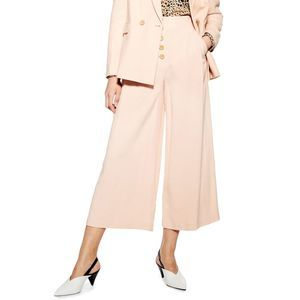 TOPSHOP US 10 Coco Cropped Wide Leg Trousers Blush